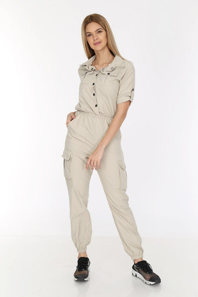 Short Sleeve V Cut Beige Relaxed Combat Overalls
