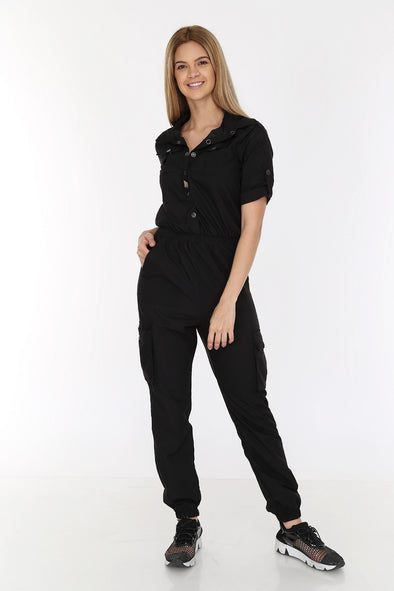 Short Sleeve V Cut Black Relaxed Combat Overalls