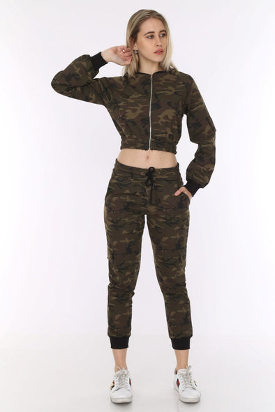 Dark Camouflage Cropped Zipper Top with Cargo Pants Leisure Suit