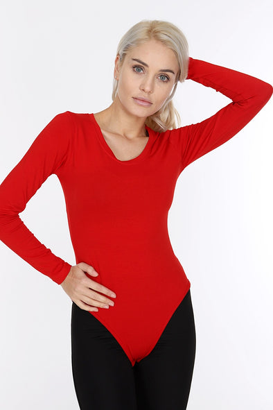 Red Crew Neck Long Sleeve Cotton Blend Stretchy Bodysuit