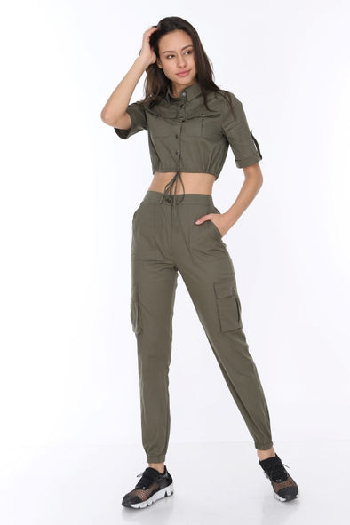 Khaki Matching Set Short Sleeve Crop Top Relaxed Combat Bottoms