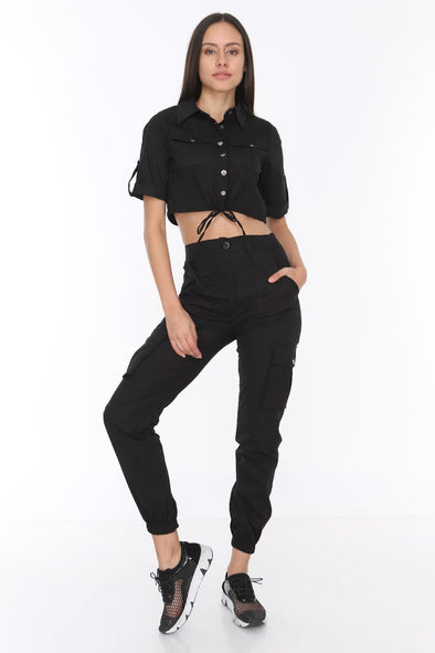 Black Matching Set Short Sleeve Crop Top Relaxed Combat Bottoms