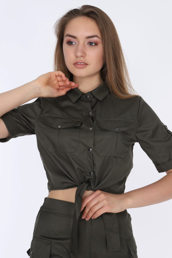 Khaki Matching Set Short Sleeve Tie Up Crop Top with Combat Shorts