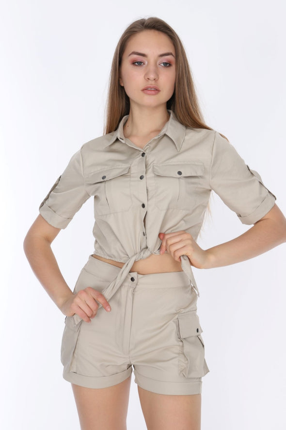Stone Matching Set Short Sleeve Tie Up Crop Top with Combat Shorts