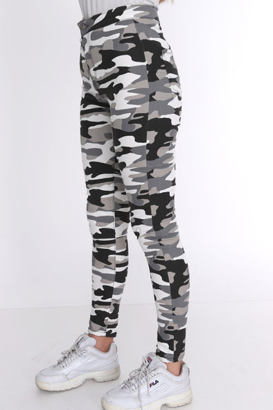 White Camouflage High Waisted Slim Skinny Jean Jeggings