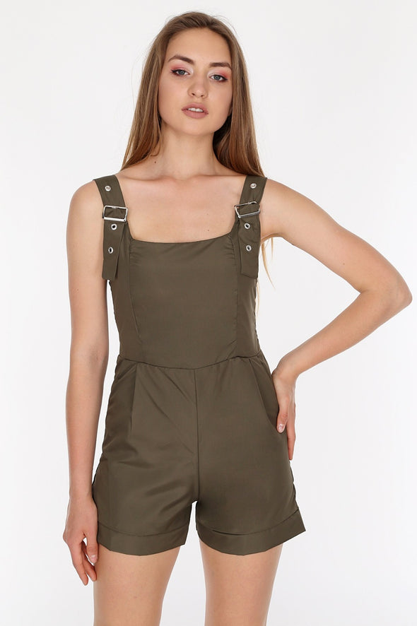 Adjustable Buckle Straps Khaki Summer Play-suit