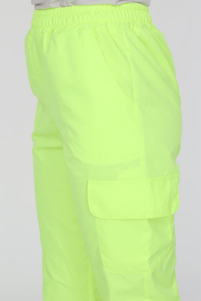 Summer Neon Green High Waisted Poly Pants Joggers