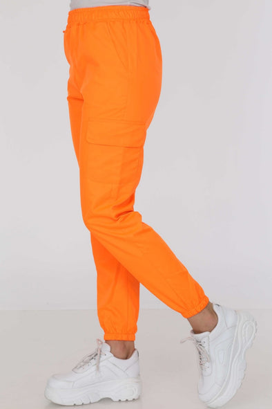 Lightweight Neon Orange High Waisted Poly Pants Joggers