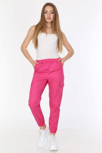 Lightweight Fuchsia High Waisted Poly Pants Joggers