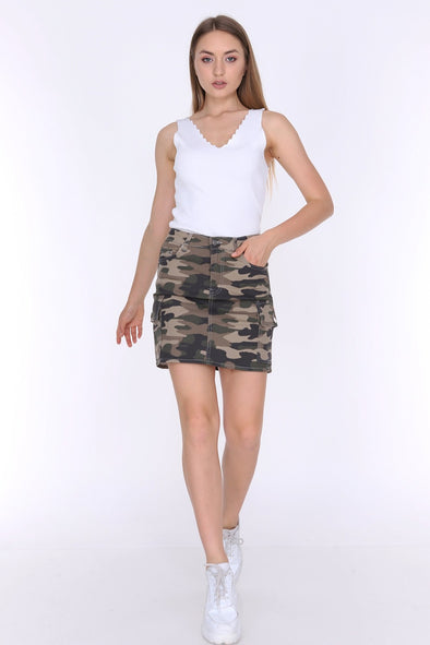Dark Camouflage High Waisted Combat Pockets Must Have Mini Skirt
