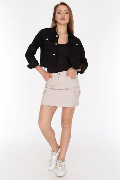 Raw Cut Hem Slouchy Buttoned Black Cropped Jacket