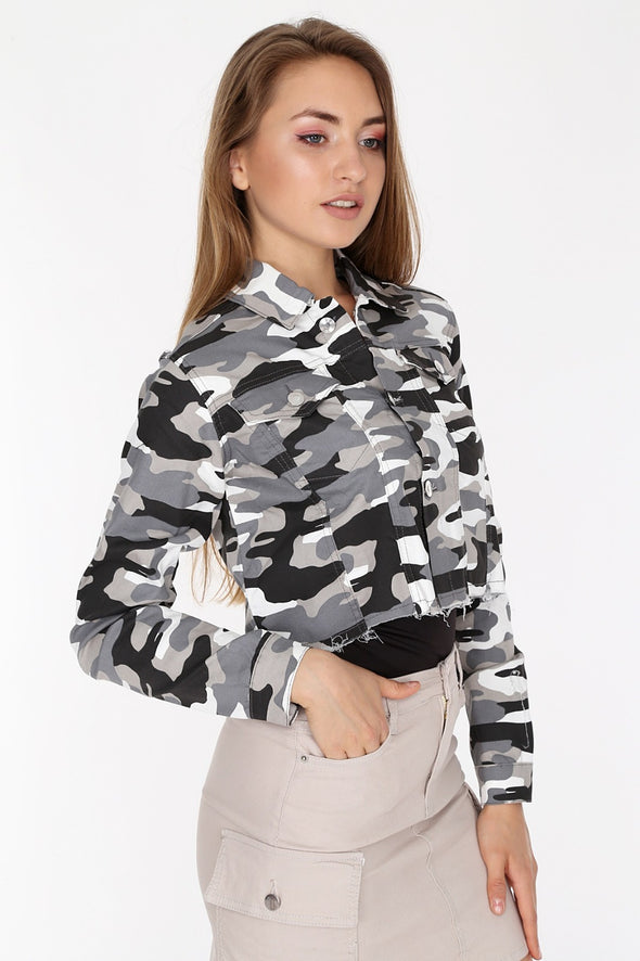 Raw Cut Hem Slouchy Buttoned White Camouflage Cropped Jacket