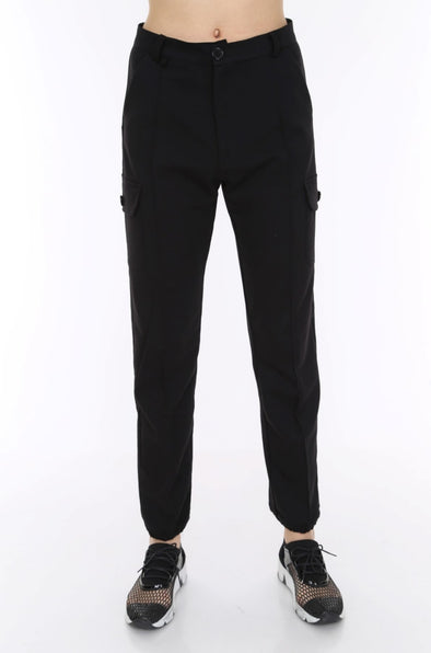 Black Soft Jersey Stretchy Combat Utility Trousers