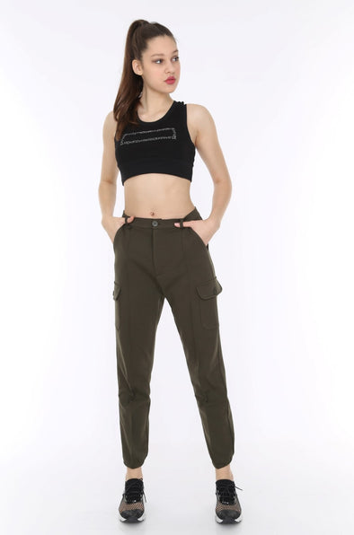 Khaki Soft Jersey Stretchy Combat Utility Trousers