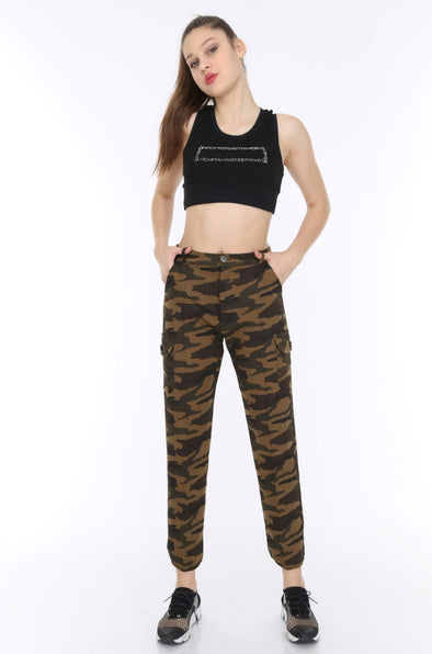 Dark Camouflage Soft Jersey Stretchy Combat Utility Trousers