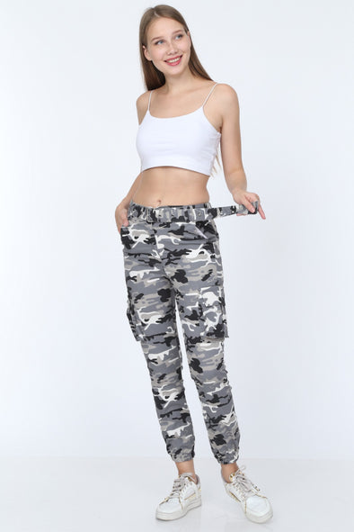 Grey Camouflage Belted Combat Style Slim Fit Stretchy Cargo Trousers