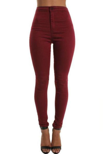 Burgundy High Waisted Plain Skinny Stretchy Jeggings