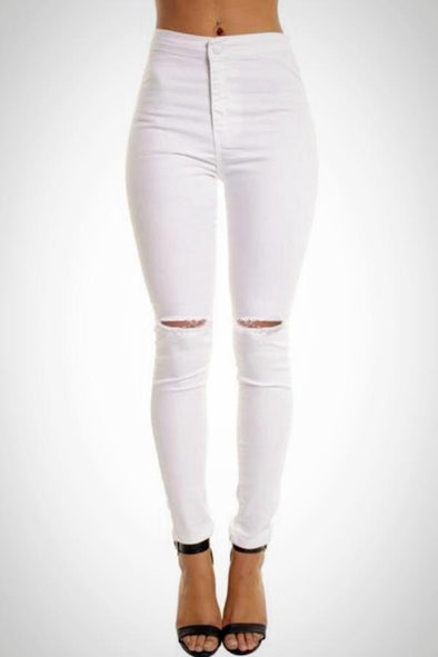 White High Waisted Ripped Knee Skinny Jeggings