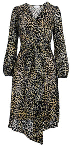 Leopard A-line Wrap Dress
