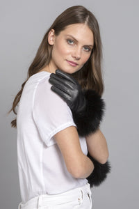 Leather Gloves with Fur Trim