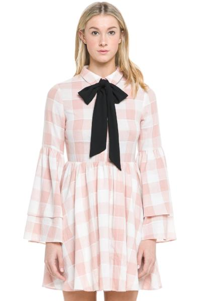 Shirred Dress with Ribbon Tie