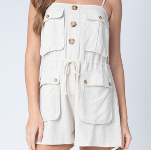 Oatmeal Button Front Romper