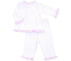 gingham dots ruffle set