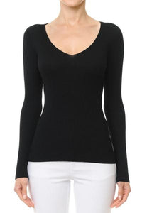 Ribbed V-Neck Long Sleeve