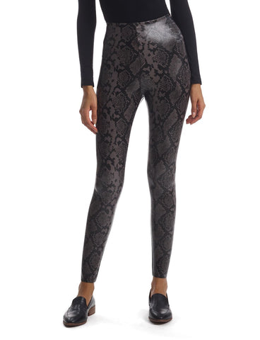 Faux Leather Grey Snake Legging