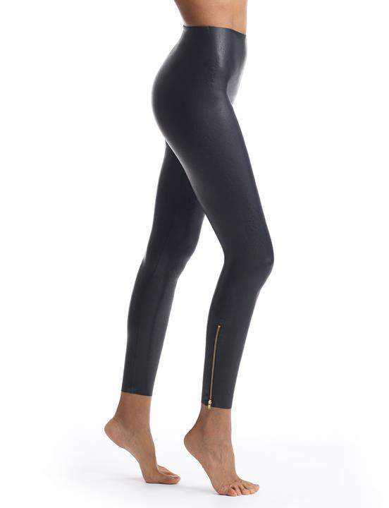 Faux Leather Zip Bottom Leggings
