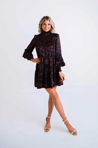 Leopard Satin Smock Dress