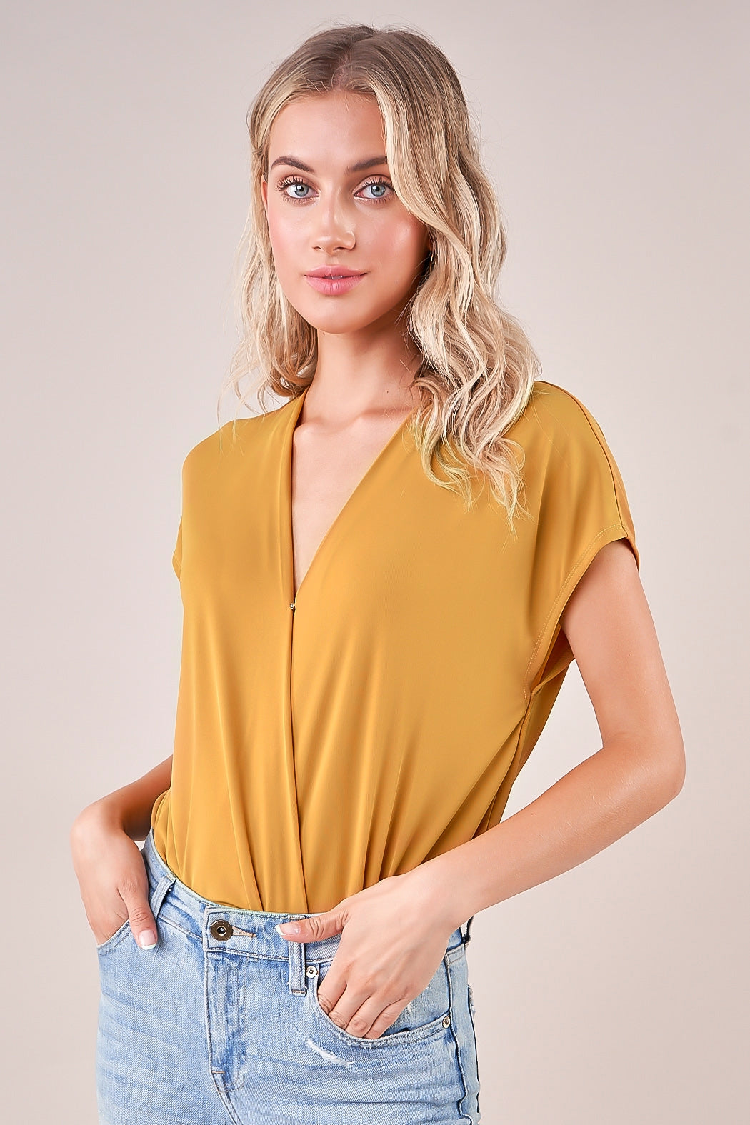Mustard Short Sleeve Surplice Bodysuit