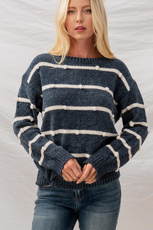 Indigo Cotton Ball Sweater