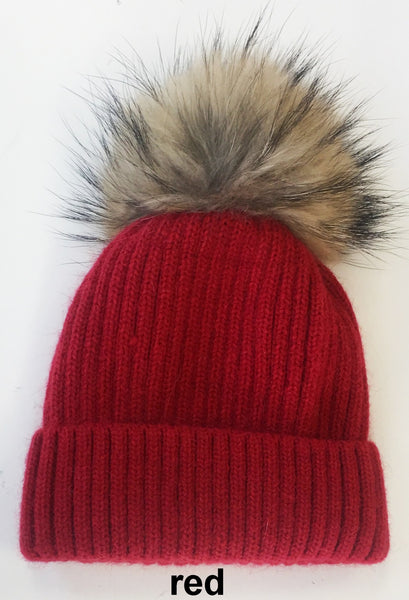 Wool Hat with Genuine Fur Pom