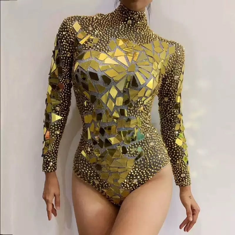 Gold Mirrored Bling Bodysuit