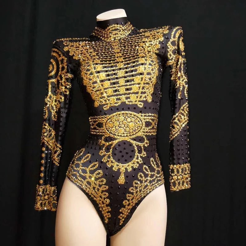 Gold Bling long sleeved Bodysuit