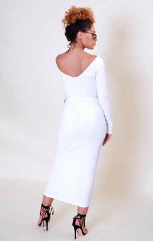 Bad with a Hint of Bougie Off the Shoulder Dress- Cocaine White