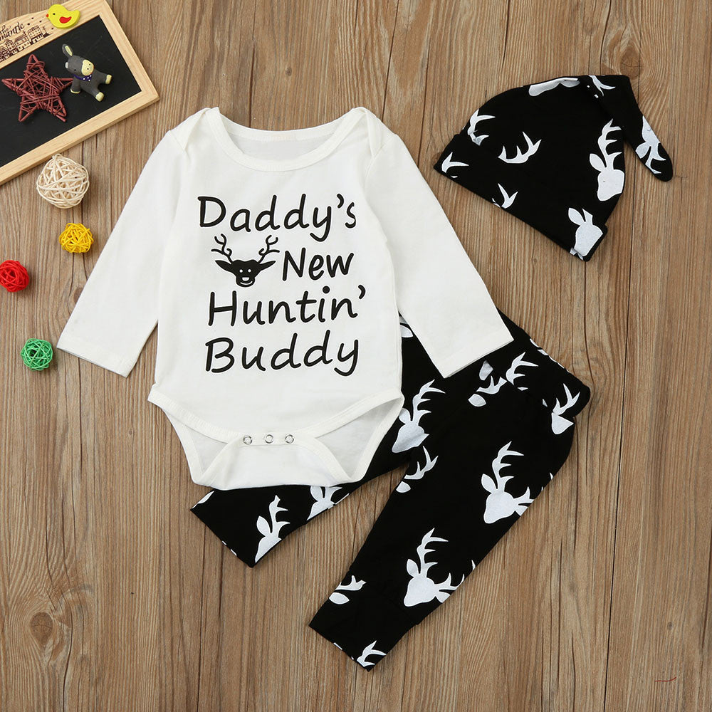 38a6bf77 Newborn Infant Baby Boy Clothes Daddy's New Huntin' Buddy Print Romper Tops  +Deer Long Pants Hat Outfits Set