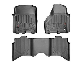 Weathertech Floor Liners-Full Set (Includes 1st and 2nd Row)-Crew Cab; Vehicles with Hooks On Driver and Passenger Side 2012-2016 Dodge Ram 1500--Black 444781-442163
