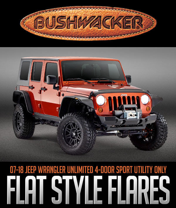 Bushwacker 07-18 Jeep Wrangler Unlimited Flat Style Flares 4pc 4-Door BLACK