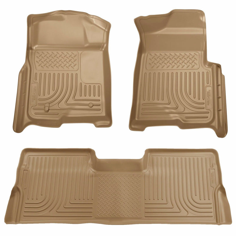 Husky WeatherBeater 1st & 2nd Row Floor Mats 2009-2014 Ford F-150 SuperCrew Tan