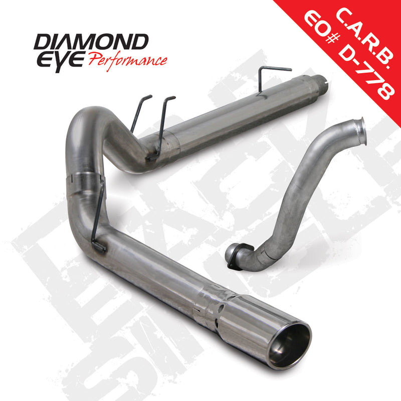 "Diamond Eye Stainless 5"" DPF Back Exhaust 08-10 Ford F250 F350 6.4L w/downpipe"