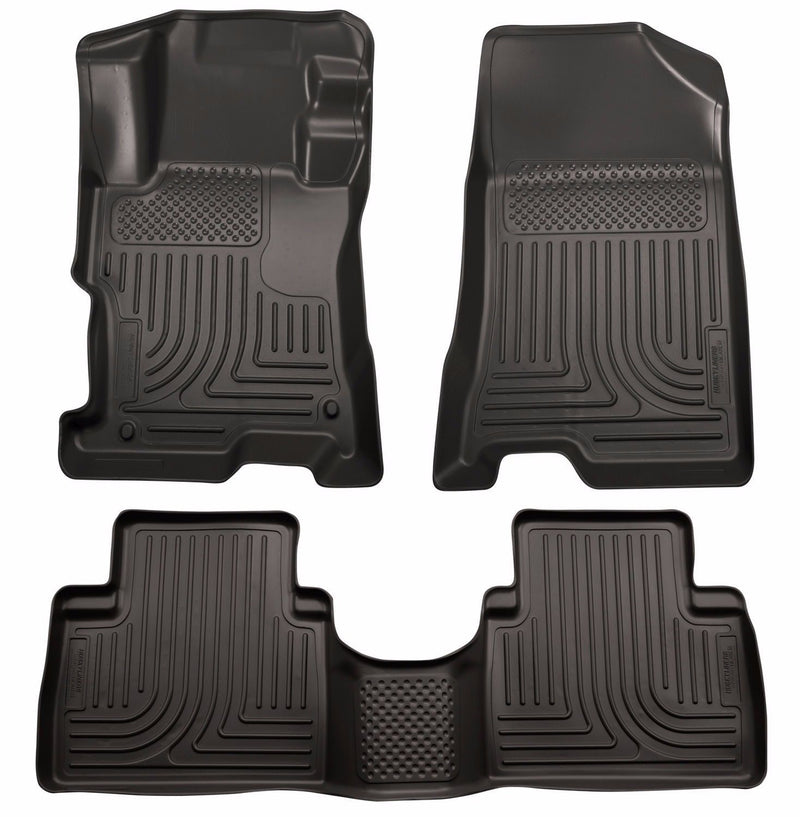 Husky WeatherBeater 1st & 2nd Row Floor Mats 2008-2012 Honda Accord 4-Door Black