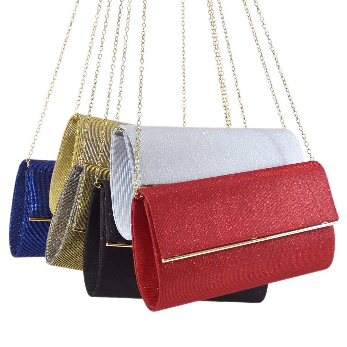 Frosted Evening Clutch with Removable Chain Strap and Polished Goldtone Frame Clasp Closure