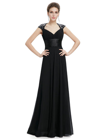 Elegant Floor Length V-neck Evening Prom Dress