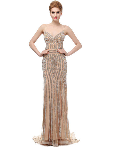Luxury Mermaid Champagne Crystal Backless Long Evening Dress