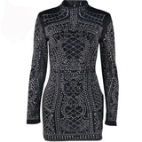 Geometric retro Rhinestone high-necked long-sleeved bodycon
