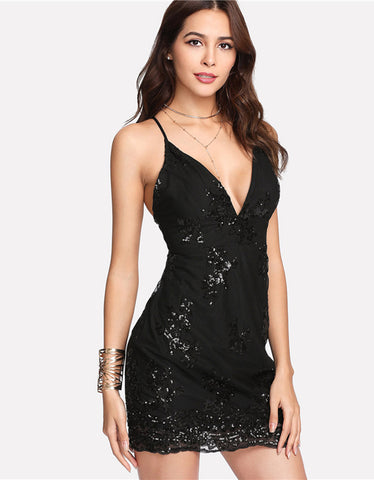 Black Sexy Deep V Neck Spaghetti Strap Sleeveless Dress