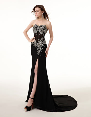 Sexy Side Split Beaded Crystals Evening Dress