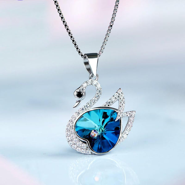 Blue Crystal  Swan Pendant Necklace Sterling Silver